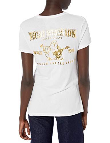 True Religion Damen Jewel FOIL Buddha T-Shirt, weiß, Mittel