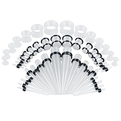 Funseedrr 50stk Acryl Ohr Dehnstab Expander Plug Set 1.6-10mm Leuchten im Dunkeln mit Flesh Silikon Ohr Tunnel Piercing Set
