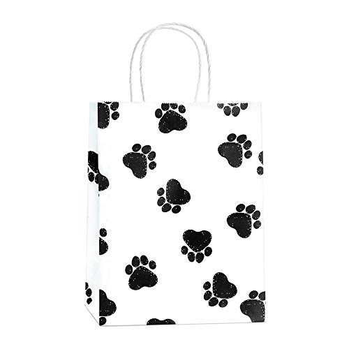 Gift Bags 25Pcs 8x4.25x10.5 Inches BagDream Shopping Bags, Paper Bags, Kraft Bags, Retail Bags, Holiday Party Bags, Dog's Paw Prints Paper Bags with Handles, Paw Print Gift Bags
