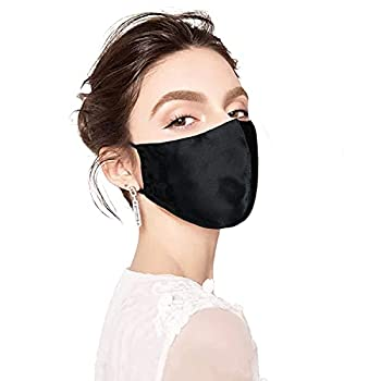Nature Mulberry Silk Face Mask For Women Men Light Silk Mask Breathable Reusable Adjustable Satin Face Masks Double Layer With Nose Wire Filter Pocket Washable Black 1PC | American Size