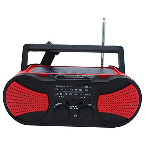 Radio portátil, fuente de alimentación de emergencia eléctrica solar de Am/FM tiempo a 2000 mAh, muy adecuada para sala de estar, cocina, camping (rojo)