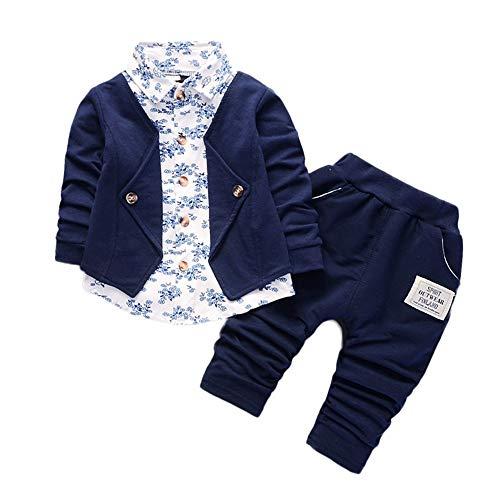 Rosennie_Baby Junge Bekleidungsset Formal Babyanzug Ausrüstungs-Set Gentleman Plaid Shirt + Hose mit Ausstattung Baby Boy Party Taufe Hochzeit Tuxedo Bow Anzug Kleidung Set (Blau,80)