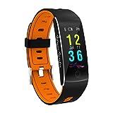 Photo Gallery mttls fitness tracker smart braccialetto f10 display a colori cardiofrequenzimetro ip68 impermeabile touch screen bluetooth pedometro wristband sonno monitor per donne uomini android e ios,orange