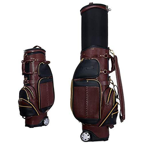 kofull Luxus PU Golf Standard Tasche Expansion Schläger Taschen Herren Golf Bag Multifunktions Air Travel Bag, braun