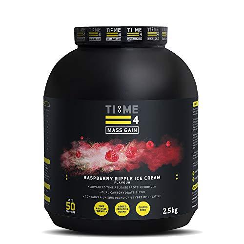 Time 4 Mass Gain – Mass Gainer Whey Protein Powder with 4 Types of Creatine – Best Tasting Weight Gain Powder (Raspberry Ripple Ice Cream, 2.5kg)