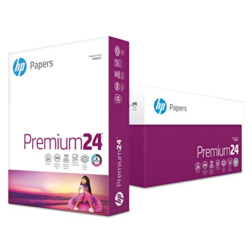 HP, Premium24 Paper, HEW115300, 98 Bright, 24pound, 8.5 x 11, Ultra White, 500 Sheets/Ream, 5 Reams/Carton, Sold As 1 Carton
