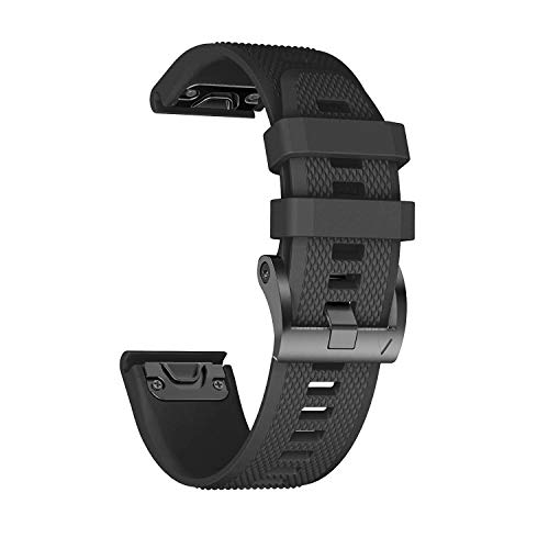 ANCOOL Compatible with Fenix 5 Band Easy Fit 22mm Width Soft Silicone Watch Strap Replacement for Fenix 5/Fenix 5 Plus/Forerunner 935/Approach S60/Quatix 5 - Black