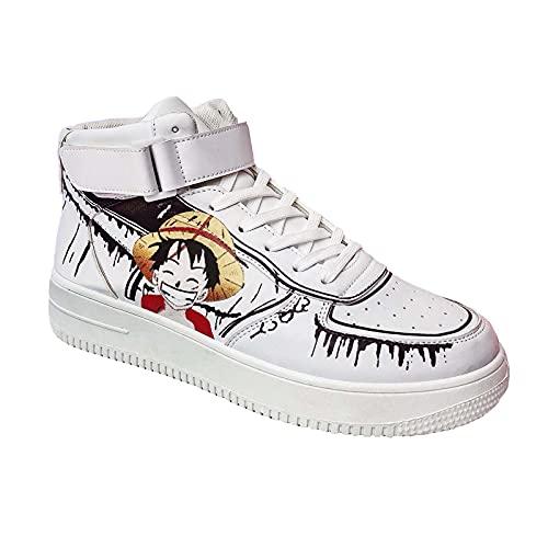 NNBBAA One Piece Zapatillas Altas de Anime Zapatos de Cosplay Monkey D. Luffy Zapatos de Baloncesto Zapatillas de Deporte para Estudiantes Zapatos Casuales para Hombres Talla 39-44