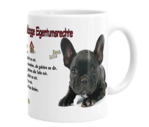 Merchandise for Fans Becher aus Keramik - 330 ml Motiv: Französische Bulldogge mit Spruch Eigentumsrechte (05)