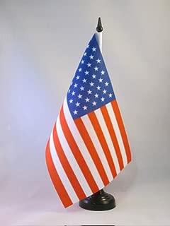 AZ FLAG United States Table Flag 5'' x 8'' - USA - US - American Desk Flag 21 x 14 cm - Black Plastic Stick and Base