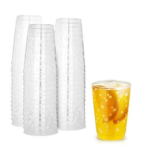 TOROTON 50 Copas de Plástico, 350ml Reutilizables Transparente Tazas de Vino, para Cumpleaños Fiestas Navidad Halloween - Punto Rojo