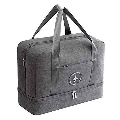 Grande borsa sportiva impermeabile, borsa sportiva separata da bagnato, con scomparto per scarpe, borsa da viaggio per sport, viaggi, nuoto, yoga, escursionismo, campeggio, Grigio (Grigio)