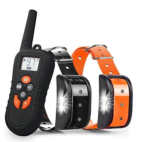 Havenfly Collare Addestramento per Cane Nessuna Scossa Elettrica, Collare Antiabbaio Cani con Vibrazione e Suono, 500m Telecomando, Impermeabile Ricaricabile (2 Cani)