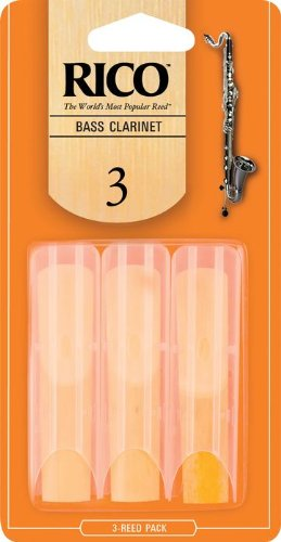 Rico Bass Clarinet Reeds, Strength 3.0, 3-pack