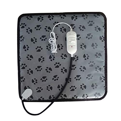 POPETPOP Cojín de calefacción para Mascotas Gato eléctrico Calentador de Perro Estera de Cama Patrón de Pata Chew Cojín de Cable Resistente con Enchufe de EE. UU.