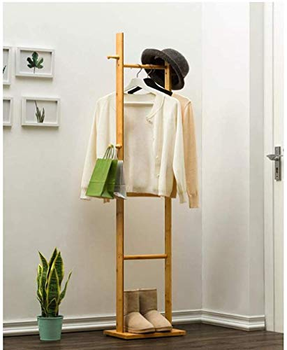ZXL kapstok, houder van hout, 4 haken, voor kleding, staand, boom hoed, jas, rails, kledingstandaard, kledinghanger, organizer, 33 x 24 x 163 cm (kleur: bruin)