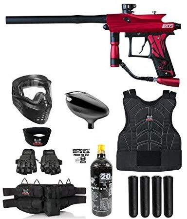 Maddog Azodin KAOS 3 Protective CO2 Paintball Gun Marker Starter Package - Red/Black