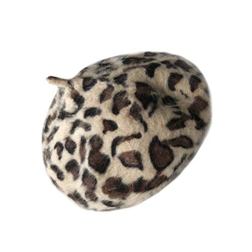 KESYOO Sombrero de Boina de Leopardo Gorro de Estilo Francés Gorro de Invierno Vintage Cálido Sombrero de Encaje de Artista Gorra Plana con Cuentas para Mujeres Y Niñas