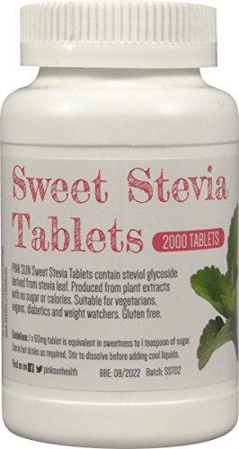 PINK SUN Stevia Comprimés 2000 Onglets Substitut Alternatif de Sucre Sans Lactose d'édulcorant Recharge pour distributeur de 500 comprimés - Stevia Tablets Tabs Rebaudioside A