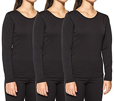 3-Pack: Women's Thermal Fleece Lined Long Sleeve Undershirts Pack Cute Compression Tops Essential Winter Clothing - Set 1, Medium from