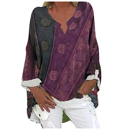 Blusa de lino para mujer de talla grande, manga corta, cuello en V, elegante impresión, túnica de lino,...