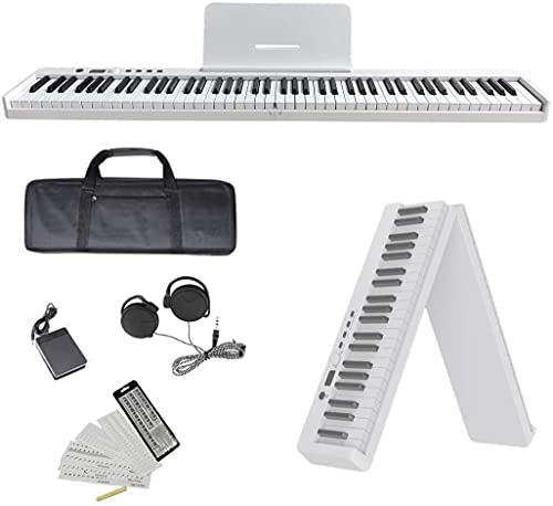NikoMaku Portable Piano Keyboard 88 Key Electric Keyboard Piano Foldable Midi Light Weight Touch Sensitive Keys Full Size Keys Touch Response sheet Music Stand 128 Rhythms 128 Tones Swan X