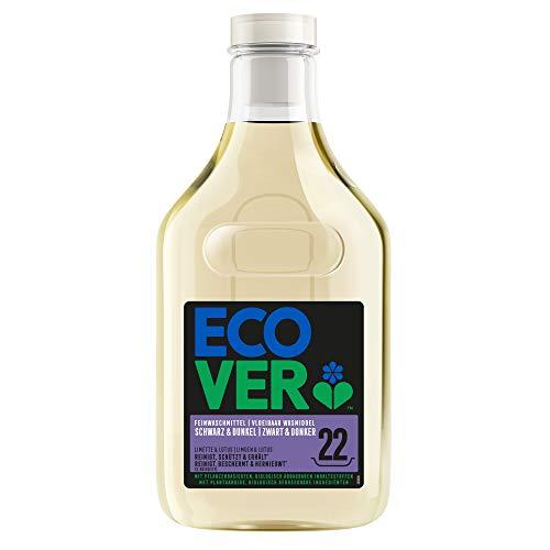 Ecover Feinwaschmittel Schwarz & Dunkel –Limette & Lotus (1 L/22 Waschladungen), Flüssigwaschmittel mit pflanzenbasierten Inhaltsstoffen, Ecover Waschmittel für dunkle Wäsche