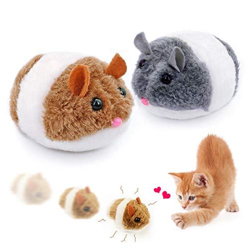 O-Kinee Juguetes para Gato, 2 Piezas Juguetes para Gatos Raton Interactivo, Ratones para Gatos de Peluche, Ratones para Gatos Que Se Mueven, Ratones para Gatos Gris e Marrón