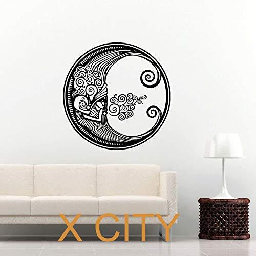 YuanMinglu Sol y Luna Media Luna Redonda Doble símbolo Nacional Vinilo Adhesivo decoración Interior Dormitorio 69.6X69.6CM