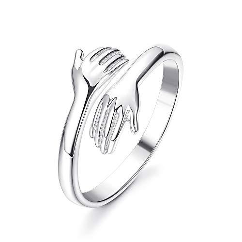 Adramata Anillo de plata de ley 925 para mujer, anillo abierto de plata con abrazo romántico para mujeres, hombres, joyería de pareja, tamaño de anillo ajustable