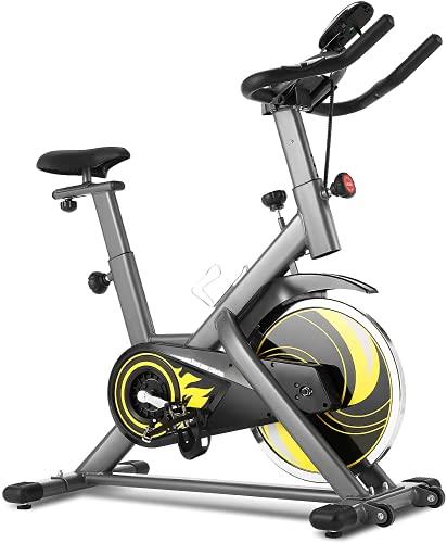 Profun Heimtrainer Fitnessfahrrad Ergometer Heimtrainer 150 kg mit App-Verbindung, Fitnessbike mit verstellbarem,Herzfrequenzsensoren,Sitz und Widerstand und Getränkehalter 18 kg Schwungrad