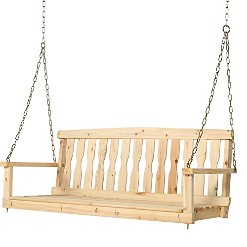 2 Seater Wooden Porch Swing, Patio Swing Chair Bench with Hanging Chains, Indoor & Outdoor Wood Hanging Porch Swing Chair Seat for Garden, Yard, Courtyard, Deck, Natural