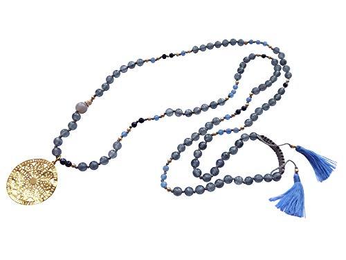 Cadena larga de piedras preciosas grises y azules con perlas de ágata y flujo de sangre, colgante de latón oriental dorado (18 quilates) llamativo.