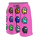 Qiyuanjianshe Among Us Merch Pink Boy Girl Teen Child Shorts Beach Pants Quick Dry Board Shorts