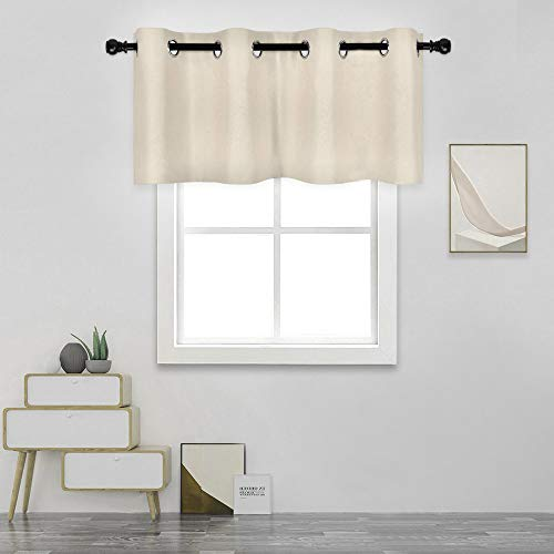 DECOVSUN Greyish Beige Valance for Windows 52X18 Inches Blackout Sun Block Curtain Valance for Kitchen/ Living Room Solid Beige Short Straight Drape Valance for Bathroom/Office 1 Panel Grommet Top