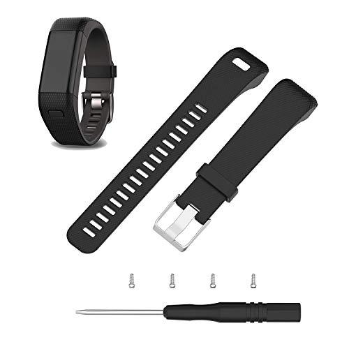 ECSEM Replacement Soft Silicone Bands and Straps Compatible with Garmin vivosmart HR+ ONLY (not for vivosmart hr) (Black)