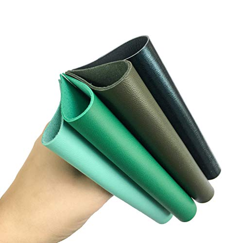 Green Leather Skin Hide Sheets: 4 Green Scrap Leather Pieces Leather Sheets for Craft 5x5 Inches / 12x12 Centimeters