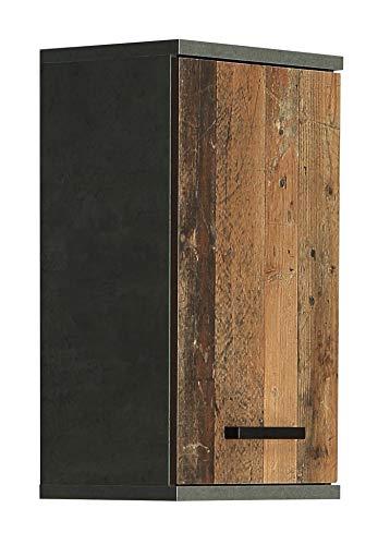 Wohnorama Hängeschrank 1-TRG VERIS von Forte Beton dunkelgrau/Old-Wood Vintage by