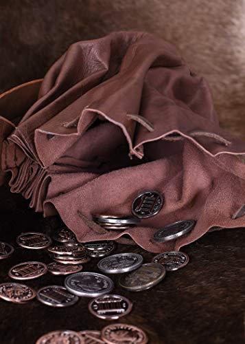 Geldbeutel mit Hornknopf, dunkelbraun Lederbeutel, groß Ledertasche – Wikinger – LARP – Mittelalter - 4