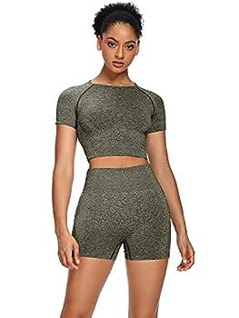 Sytiz Women Seamless Yoga Outfits 2 Piece Set Workout Gym Shorts + Short Sleeve Crop Top  Black Green s