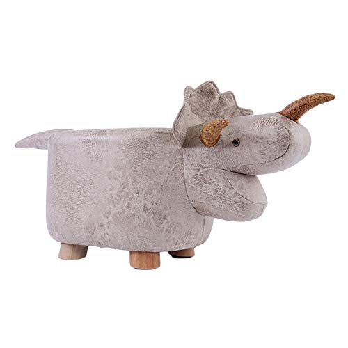 Wpsdry Reposapiés Banco Zapatos Animales para Niños, Sofá Casero Madera Maciza Otomanos Moda Creativa Dibujos Animados Taburete Bajo Soporta Peso 150 Kg, para Niños Niñas Adultos,Blanco,Triceratops