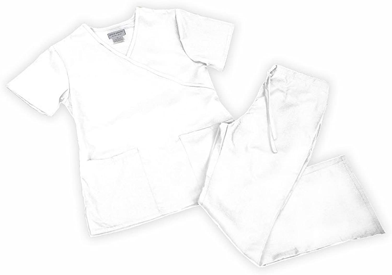 Natural Uniforms Women's Mock Wrap Flare Pant Medical Scrub Set