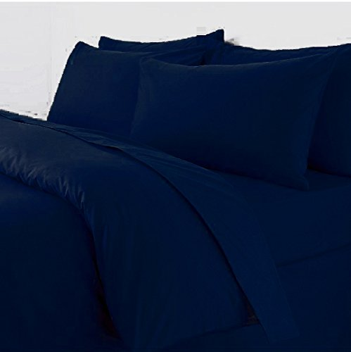 Sapphire Collection Plain Duvet Cover With Pillow Cases Non Iron Percale Quilt Cover Bedding Bedroom Set (Double, Navy Blue)