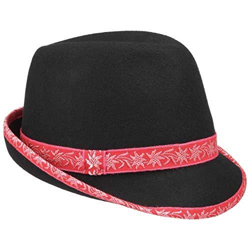 Chapeaushop Chapeau Tyrolien en Feutre pour Homme Chapeau Alpin Trilby (59 cm - Rouge)