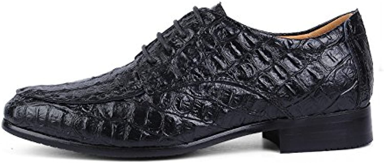 S.Y.M Herren Business Oxford Casual Classic Crocodile Round Toe Formelle Schuhe (Farbe   Schwarz, Größe   45 EU)