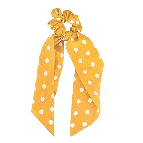 JSZWGC Mode Haarschmuck Langer Schal Bänder Scrunchie for Frauen Fliege elastischer Pferdeschwanz-Halter-Haar-Bänder (Color : 10 Yellow)