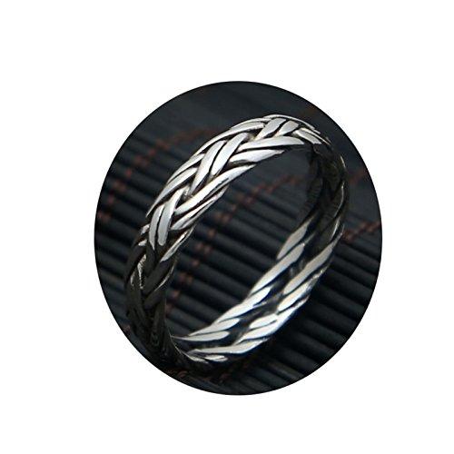 SonMo 5MM Vintagefrau Mann 925 Silber Ring 2 Weben Handmade Männer Ringe Vintage Ring Silber Modeschmuck Herren Ring Punk Größe:57 (18.1) für Paare