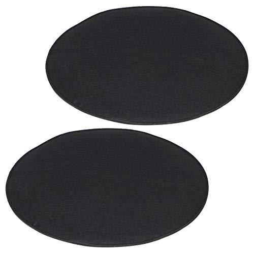 IDIMEX Lot de 2 Coussins d'assise JONITA pour chaises ou fauteuils de Salle à Manger ou Bureau, galettes de Chaise rembourrées Rondes en Tissu Noir