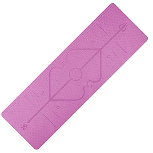 Kikier - Tappetino da yoga con tappetino antiscivolo per principianti, con linea di posizionamento, colore rosa
