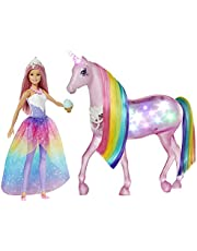 Barbie, Dreamtopia Jednorożec Magia Świateł Z Tęczową Grzywą, Światłami I Dźwiękami I Lalka Księżniczka Barbie Z Różowymi Włosami GWM78